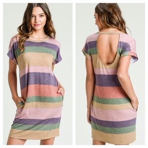 Multi Color Striped Short Sleeve Dress with Pocket